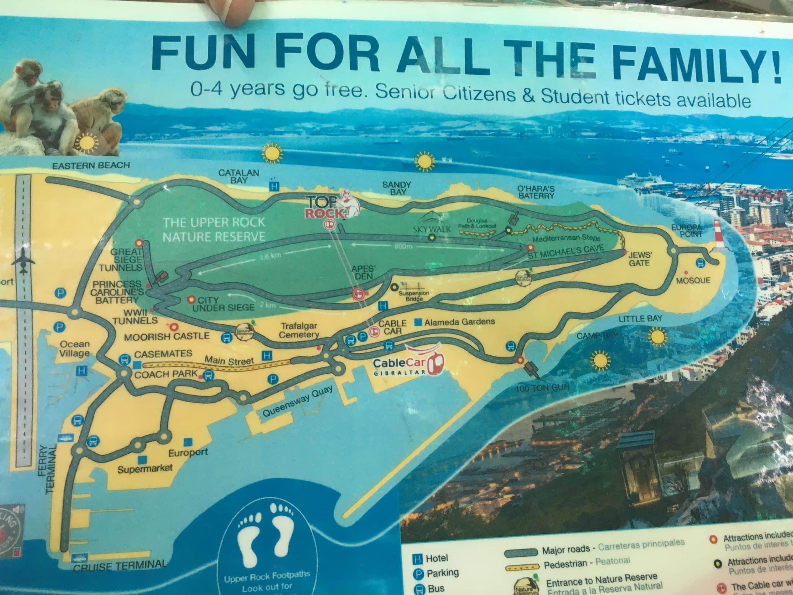 Lageplan Affenfelsen Gibraltar