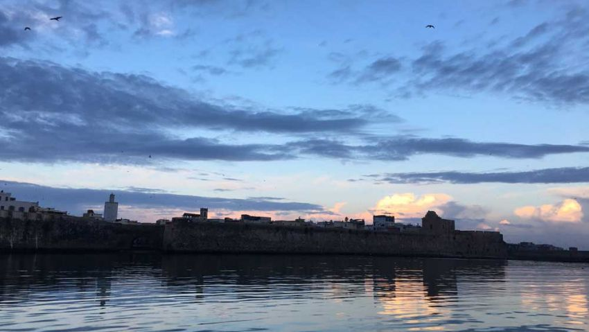Der Hafen von El Jadida bei Sonnenaufgang