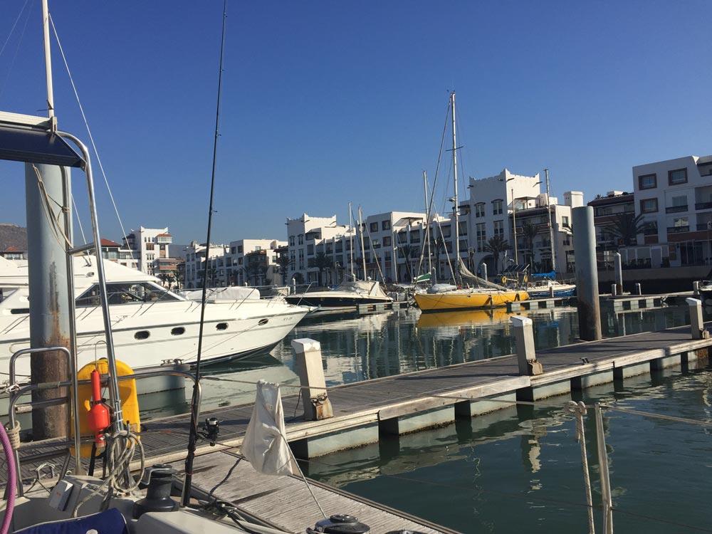 Unser Liegeplatz im Yachthafen Agadir
